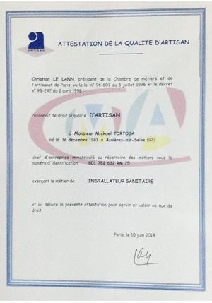attestation artisan Tortosa